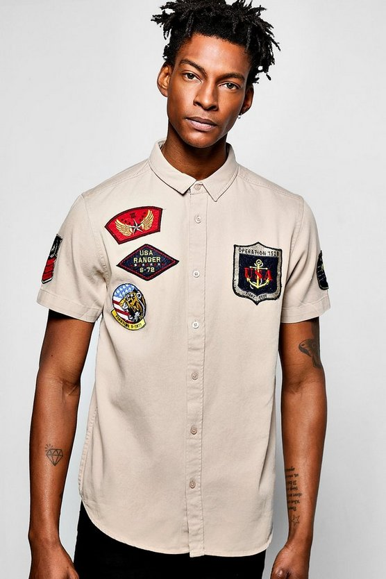 Short Sleeved Badged Military Shirt