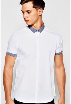 Short Sleeve Shirt With Chambray Collar