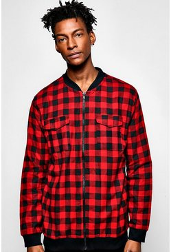 Bomber Collar Buffalo Check Shirt