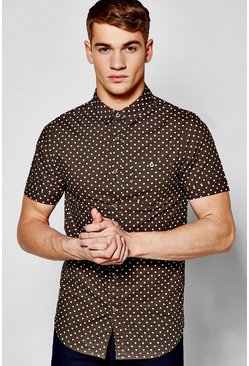 Short Sleeve Polka Dot Print Shirt