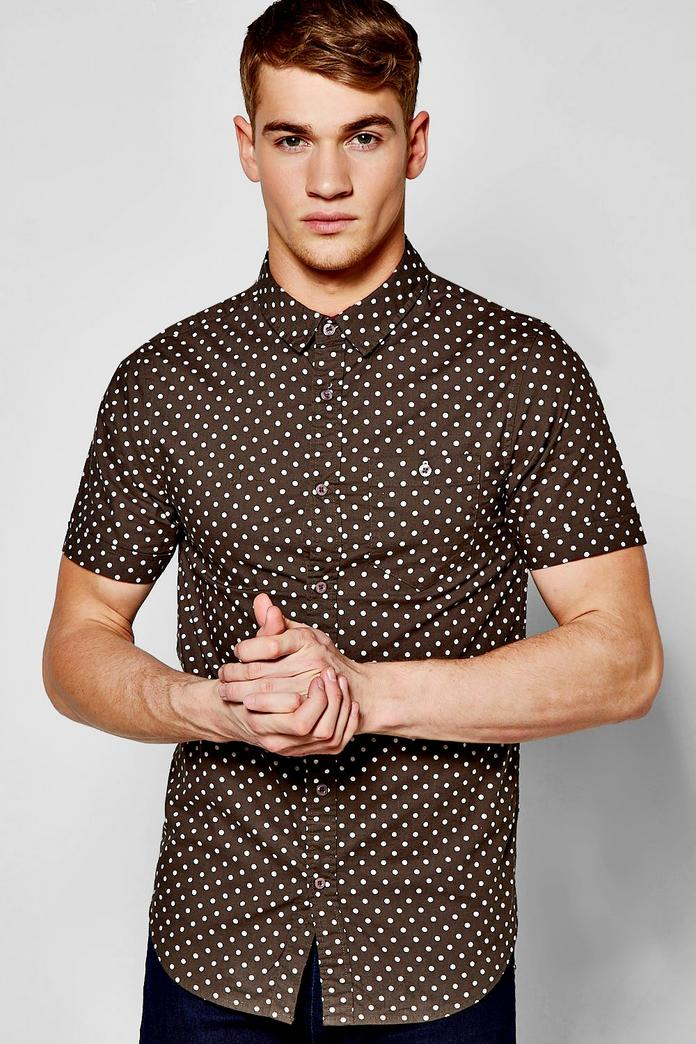 Short sleeve polka dot print shirt boohoo for Mens polka dot shirt short sleeve