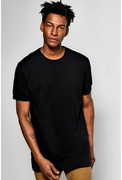 Longline Biker T Shirt With Stepped Hem