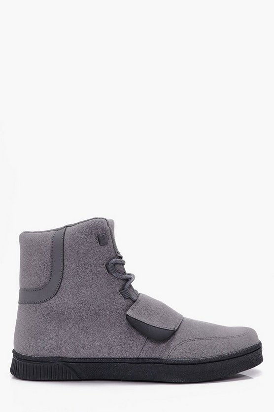 Faux Suede High Top Trainer With Strap