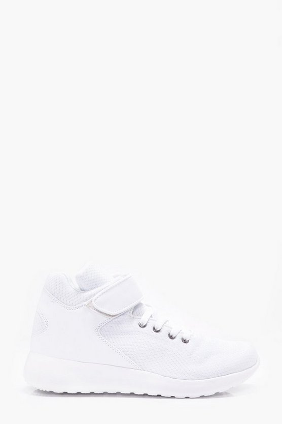 Mesh High Top Trainer With Stripe Detail