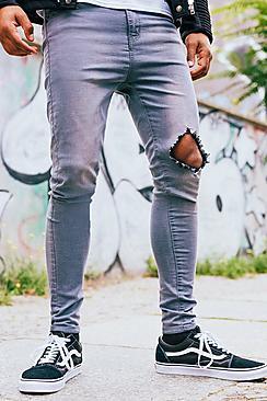 Spray On Skinny Jeans with Diamond Knee Rip