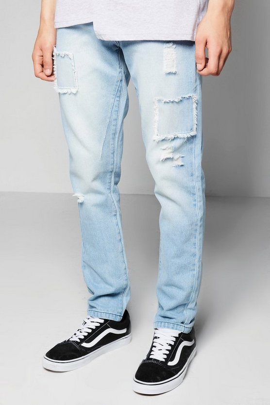 Skinny Fit Rigid Jeans with Distressed Patchwork