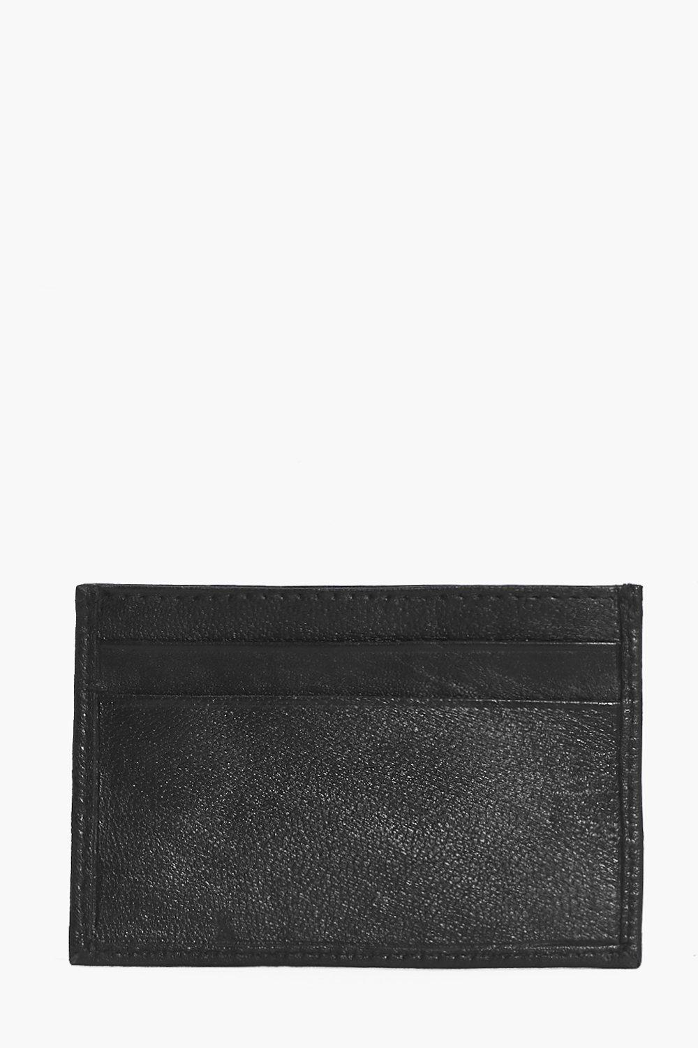 Leather Card Holder - black - Real Leather Card Ho