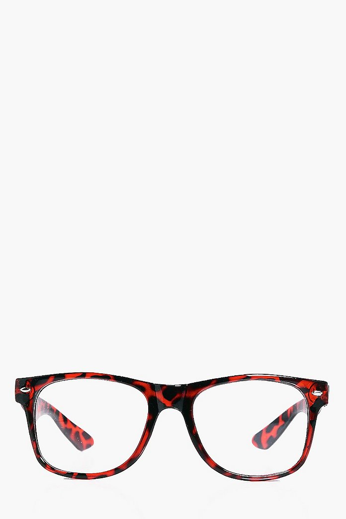 Tortoise Shell Clear Lense Wayfarer Glasses