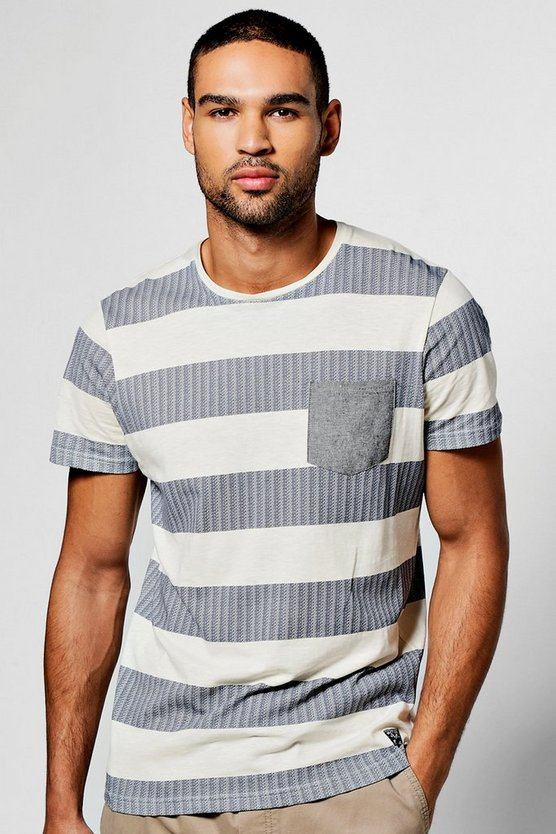 Cotton Slub Stripe T Shirt