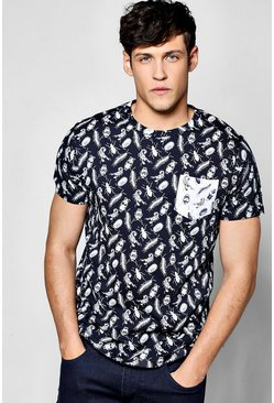 All Over Beetle Print T Shirt