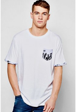 Palm Print Pocket T Shirt