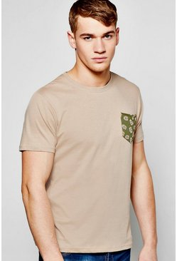 Skull Pocket Print T Shirt