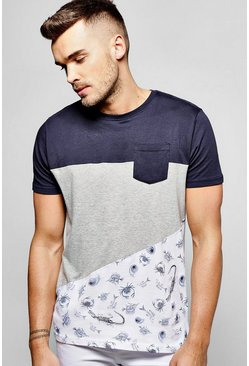 Spliced Pocket T Shirt With Print