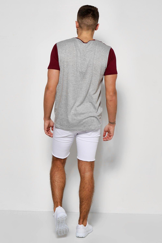 Boohoo-Camiseta-De-Uniones-Con-Bolsillo-Y-Estampado-para-Hombre