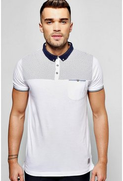 Polo T Shirt With Yoke Print & Pocket