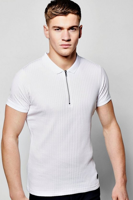 Ribbed Polo T Shirt