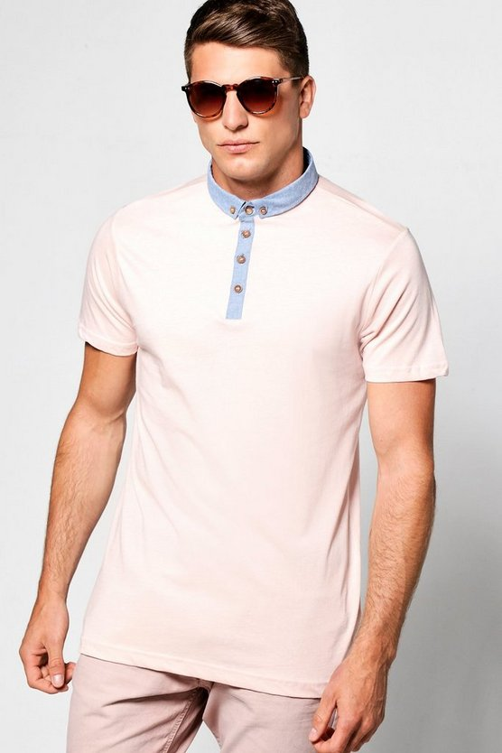 Button Down Polo T Shirt With Chambray Collar