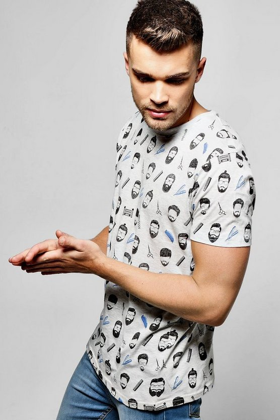 All Over Barber Shop Print T Shirt
