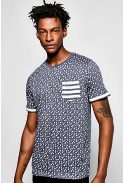 All Over Star Print T Shirt With Pocket
