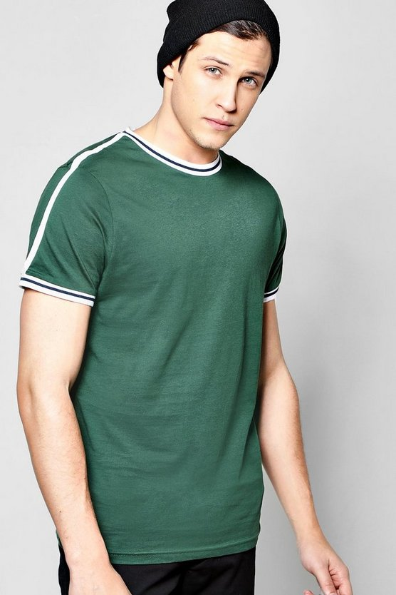 Sports Stripe T Shirt With Rib Neck