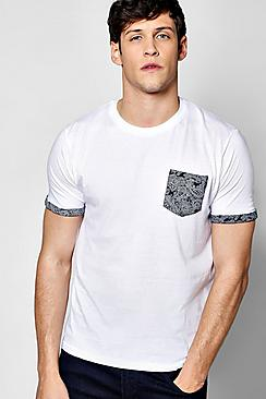 Paisley Pocket Print T Shirt