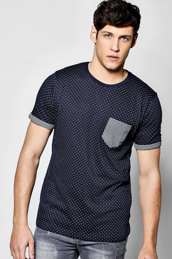 Spot Print T Shirt With Stripe Turn Ups
