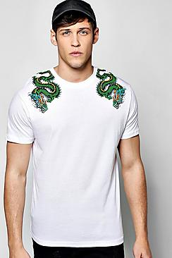 Dragon Shoulder Print T Shirt
