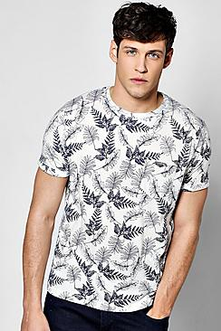 All Over Leaf Print T Shirt