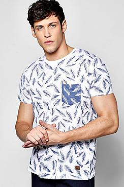 All Over Feather Print T Shirt