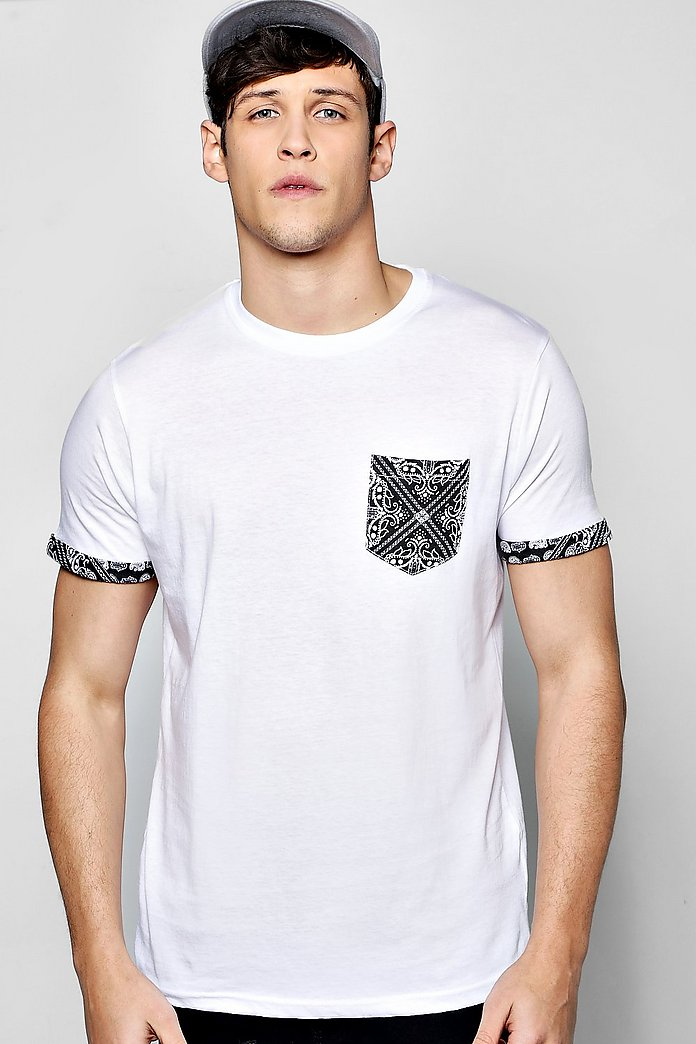 Paisley Pocket Turn Up T Shirt