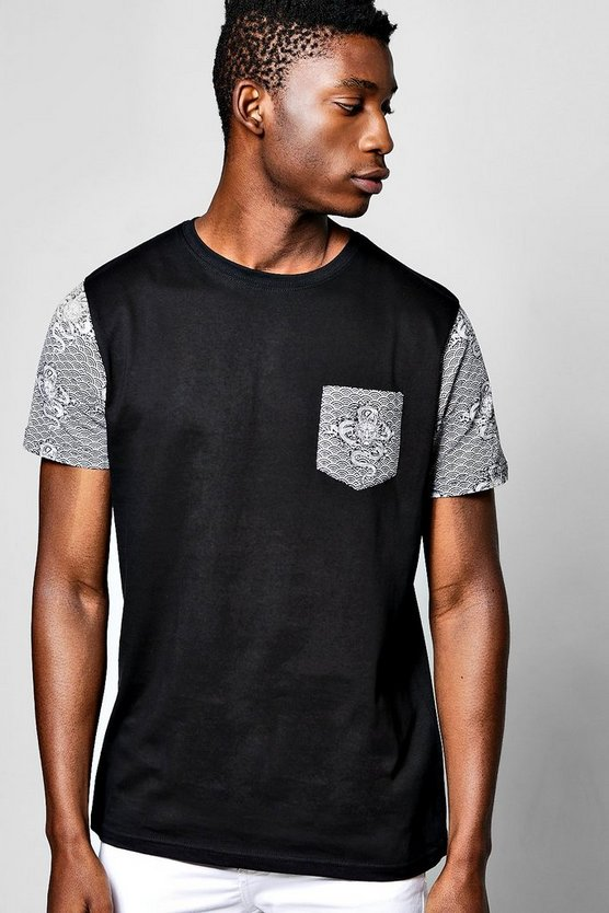 Dragon Pocket & Sleeve Print T Shirt
