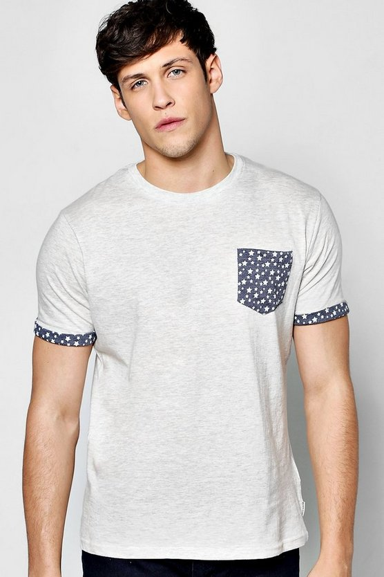 Star Pocket Print T Shirt