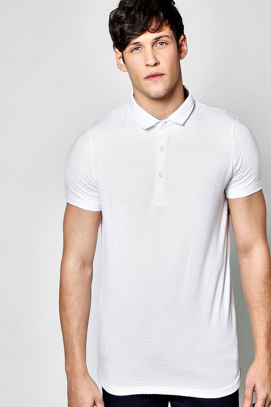 Textured Button Down Polo T Shirt