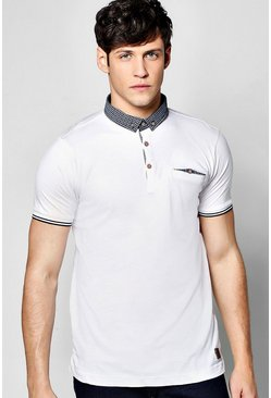 Patterned Collar Polo T Shirt