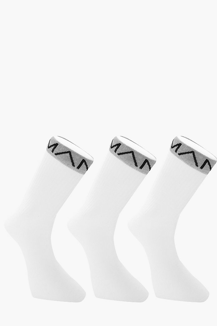 3 Pack MAN Branded Sport Socks With Grey Band