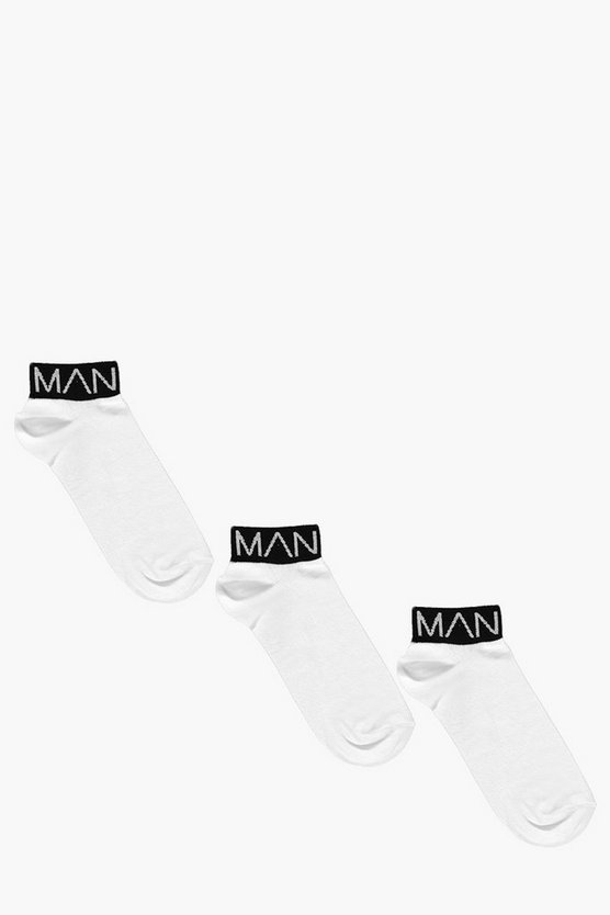 3 Pack MAN Branded Trainer Socks With Black Band