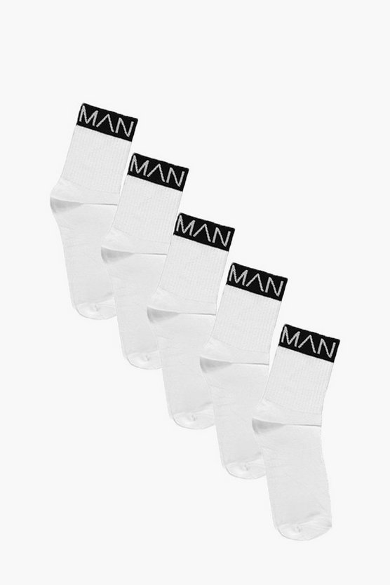 5 Pack MAN Branded Sports Socks With Black Band