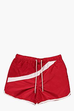 Contrast Stripe Runner Style Swim Shorts