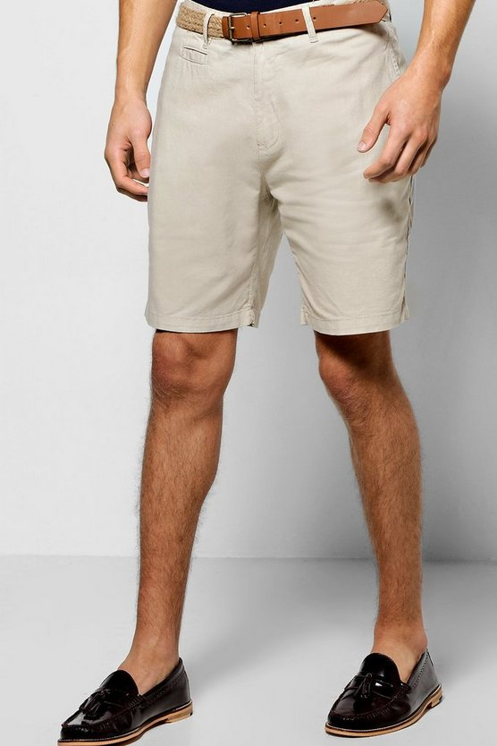Cotton Linen Shorts With Woven Belt