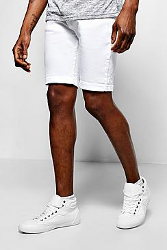 Skinny Fit White Denim Shorts In Mid Length