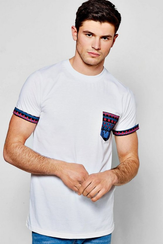 Pocket T Shirt With Aztec Print