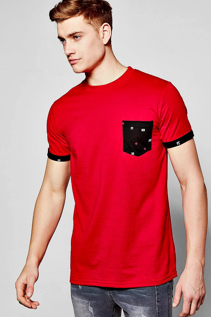 Short Sleeve Pocket T Shirt With Print