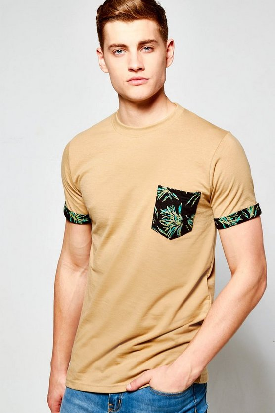 Pocket T Shirt With Leaf Print