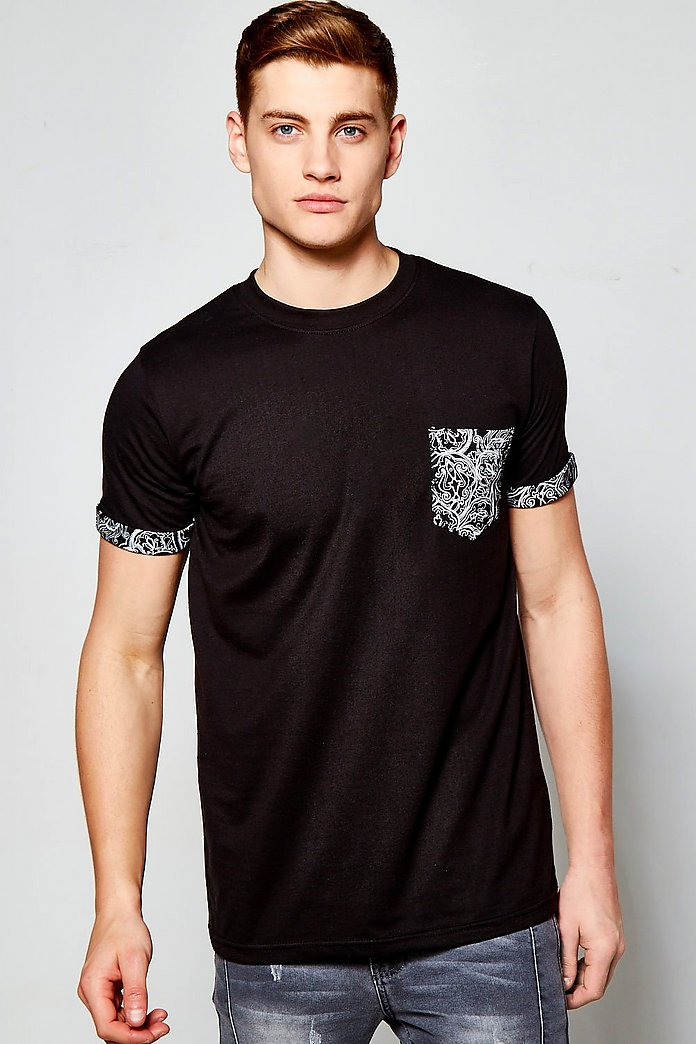 Pocket T Shirt Bandana Print