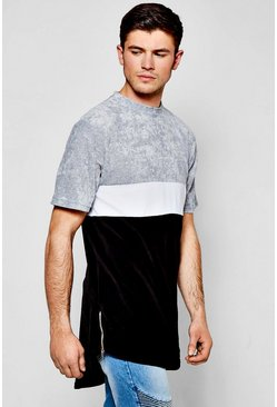 Longline Scoop Hem Velour T-Shirt