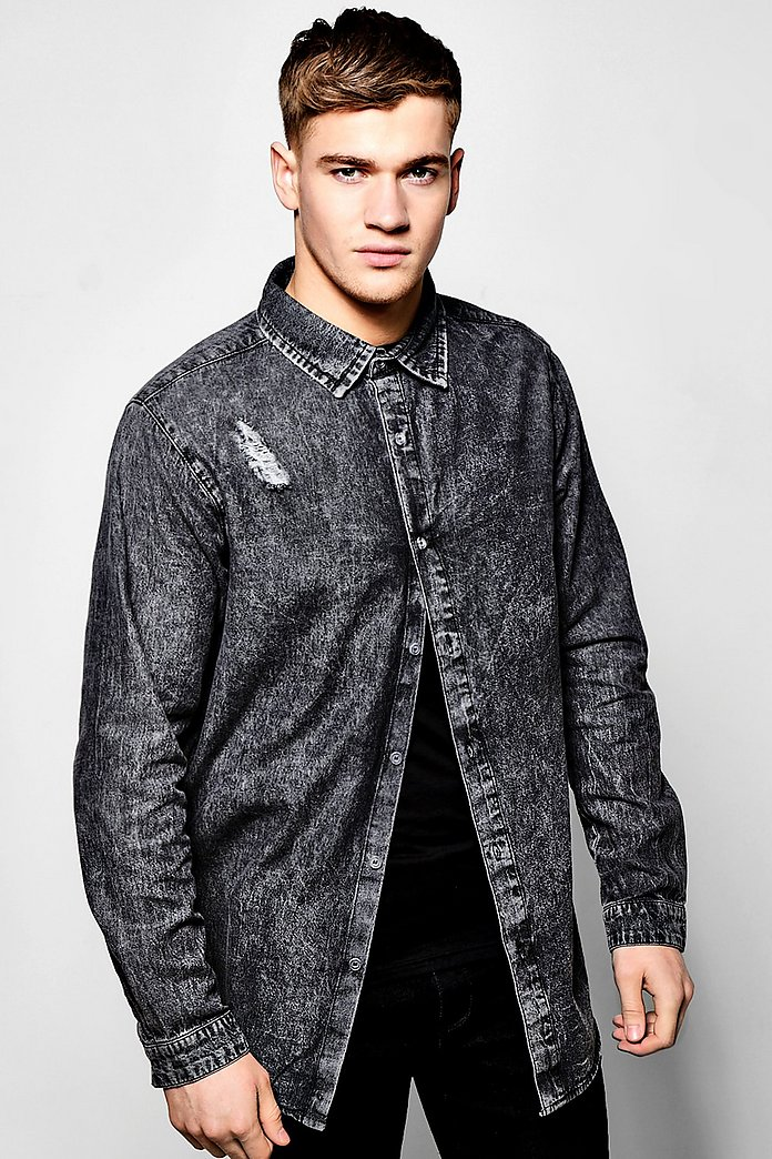 Long Sleeve Longline Scoop Hem Denim Shirt