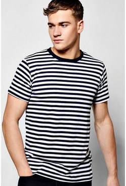 Crew Neck T-Shirt In Yarn Dye Stripe