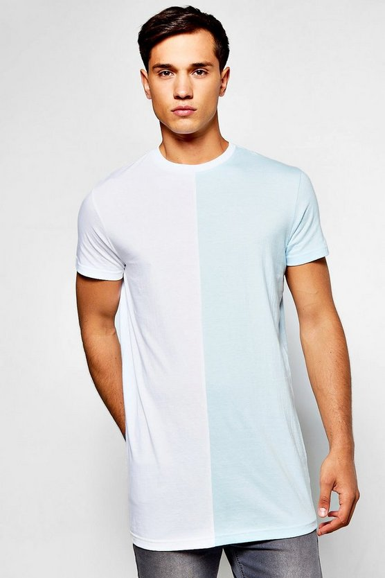 Longline Colour Block Half And Half T-Shirt