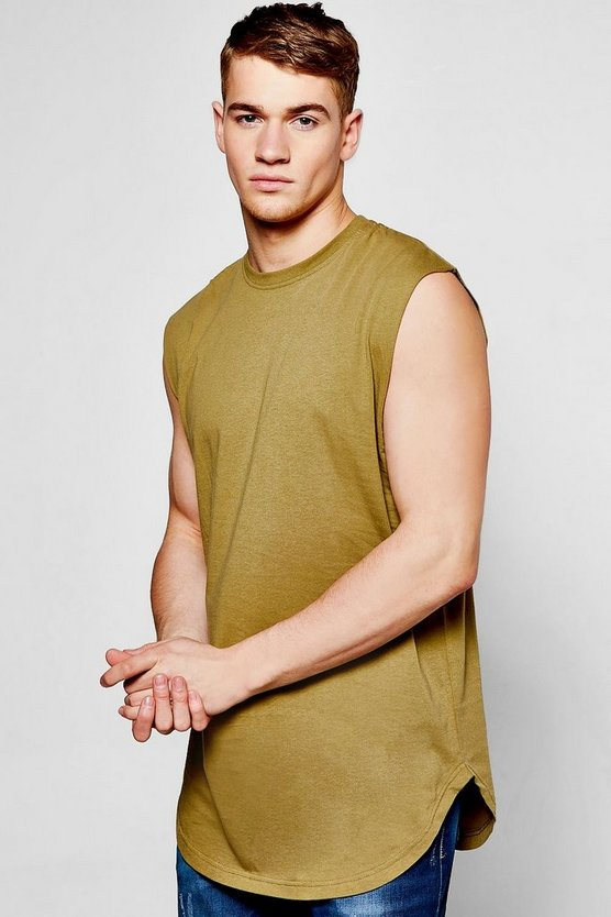 Longline Curved Hem Sleeveless T-Shirt