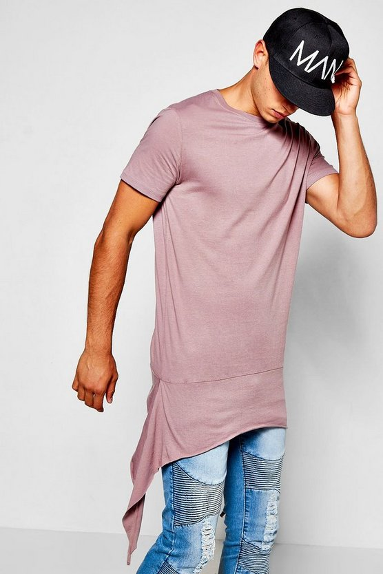 Longline T-Shirt With Split Dip Hem